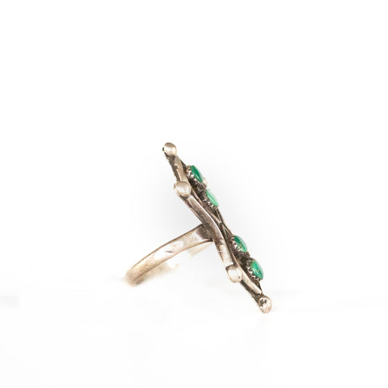 VINTAGE JEWELRY | MULTI-STONE MALACHITE STERLING RING (SIZE 6)