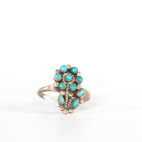 VINTAGE JEWELRY | DETAILED STERLING TURQUOISE FLOWER RING (SIZE 6)