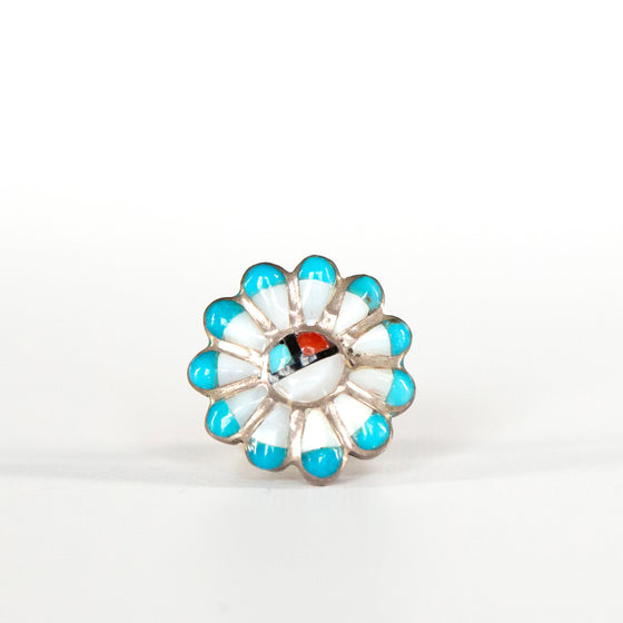 VINTAGE JEWELRY | ZUNI STERLING SUN FACE RING (SIZE 4)
