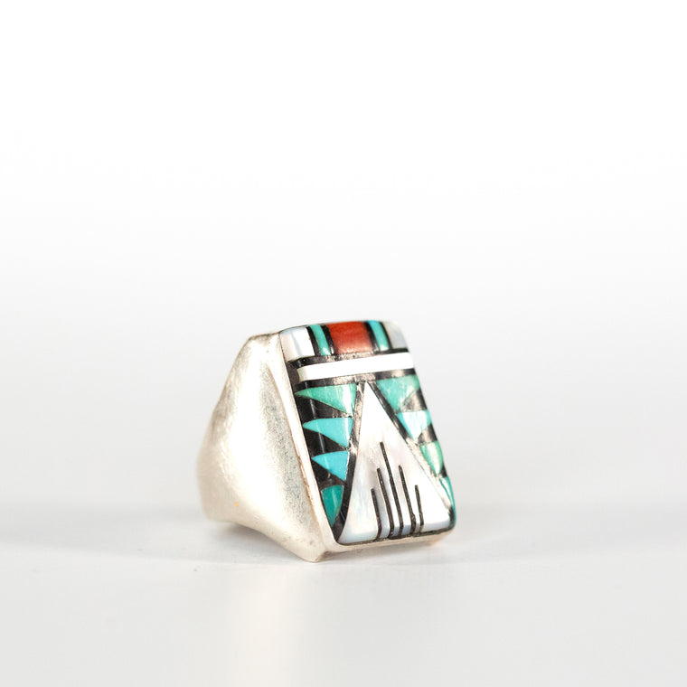VINTAGE JEWELRY | ZUNI STERLING MULTI-ZONE MEN'S RING (SIZE 9.75)