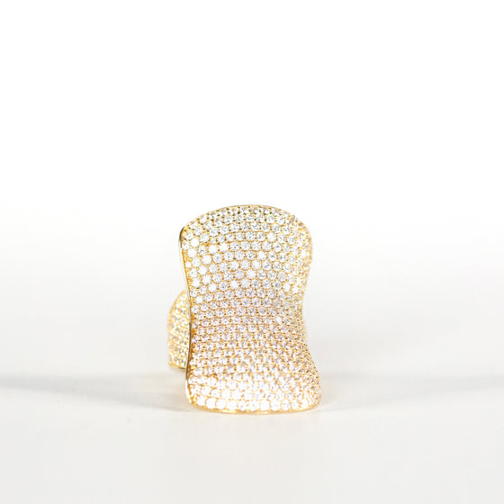 VINTAGE JEWELRY | GOLD-TONE STERLING MICROZIRCONIA RING (SIZE 6.25)