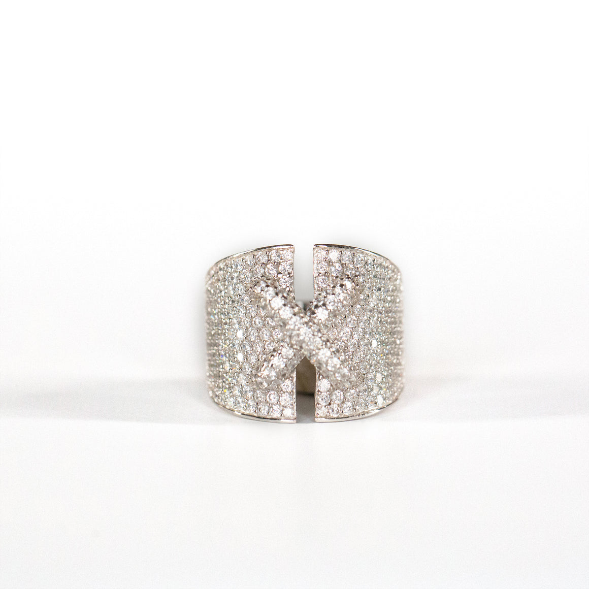 VINTAGE JEWELRY | STERLING MICROZIRCONIA CORSET RING (SIZE 8)