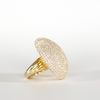 VINTAGE JEWELRY | LARGE GOLD-TONE STERLING MICROZIRCONIA RING (SIZE 6.5)