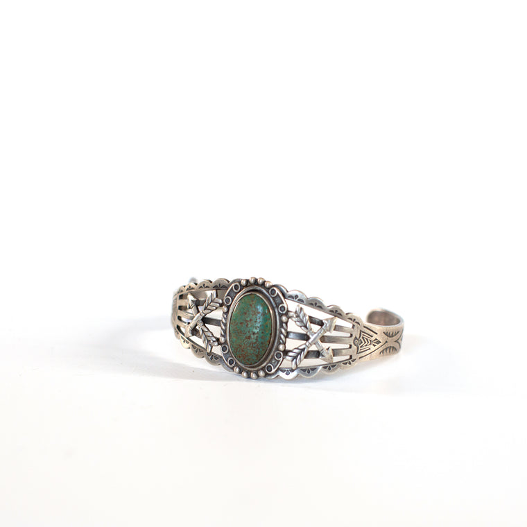 VINTAGE JEWELRY | FRED HARVEY-STYLE STERLING TURQUOISE BRACELET