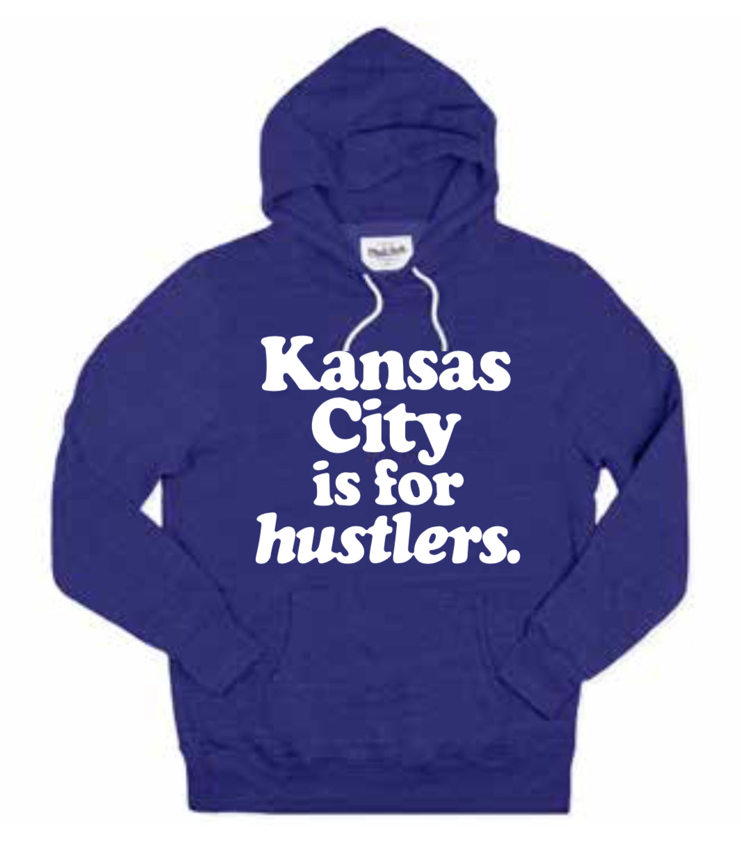 CHARLIE HUSTLE | KC IS FOR HUSTLERS HOODIE | NAVY