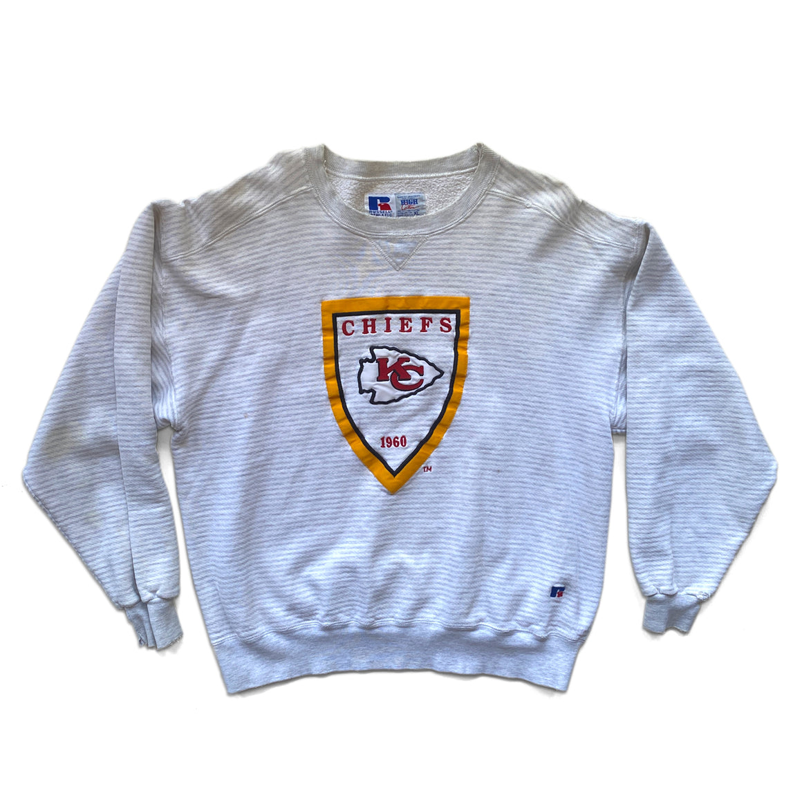 WESTSIDE STOREY VINTAGE | RUSSELL ATHLETIC STRIPED KC CHIEFS SWEATSHIRT