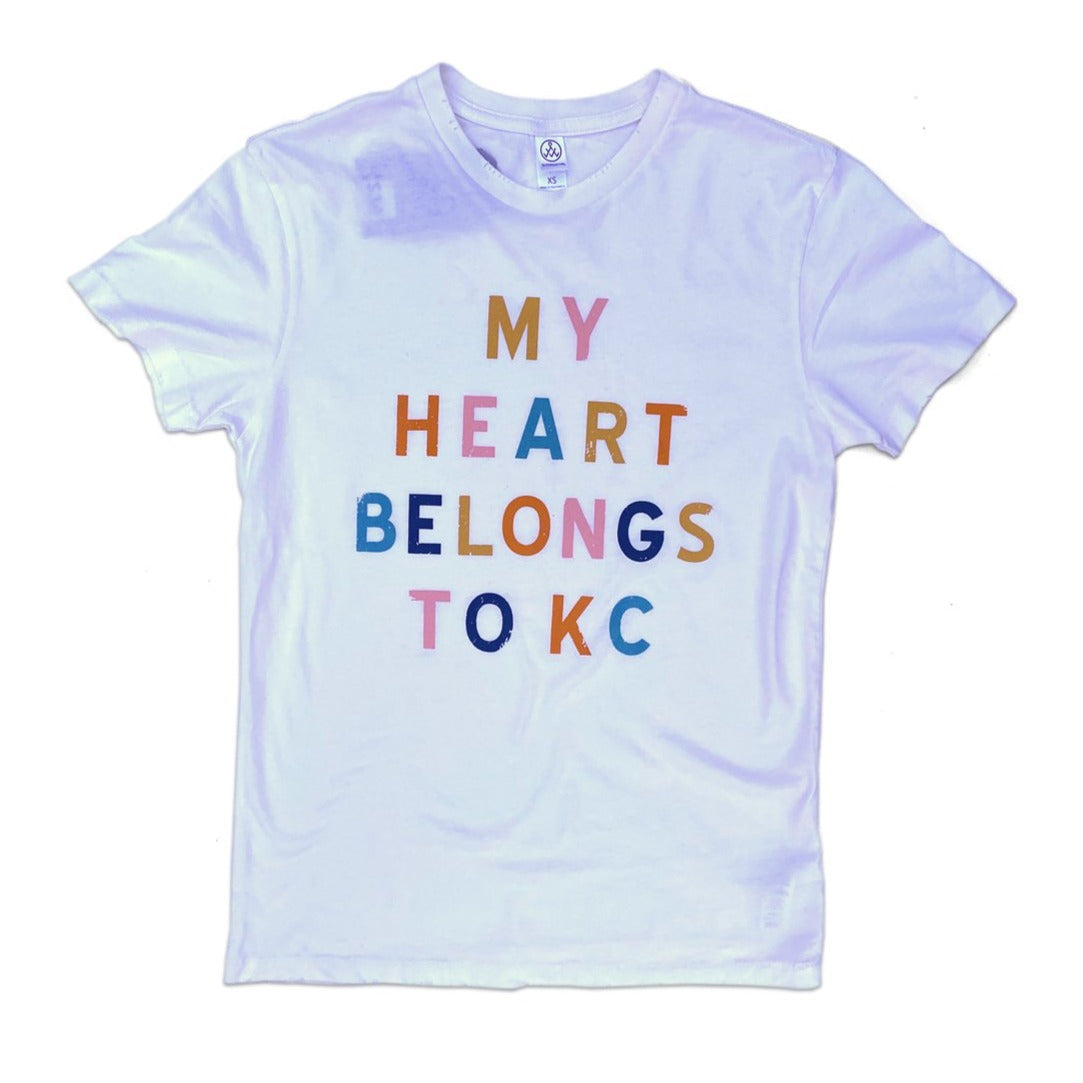 1KC | MY HEART BELONGS TO KC WOMENS CUT T-SHIRT - WHITE