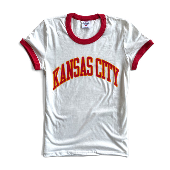 CHARLIE HUSTLE | KANSAS CITY ARCH VINTAGE RINGER T-SHIRT - WHITE & RED