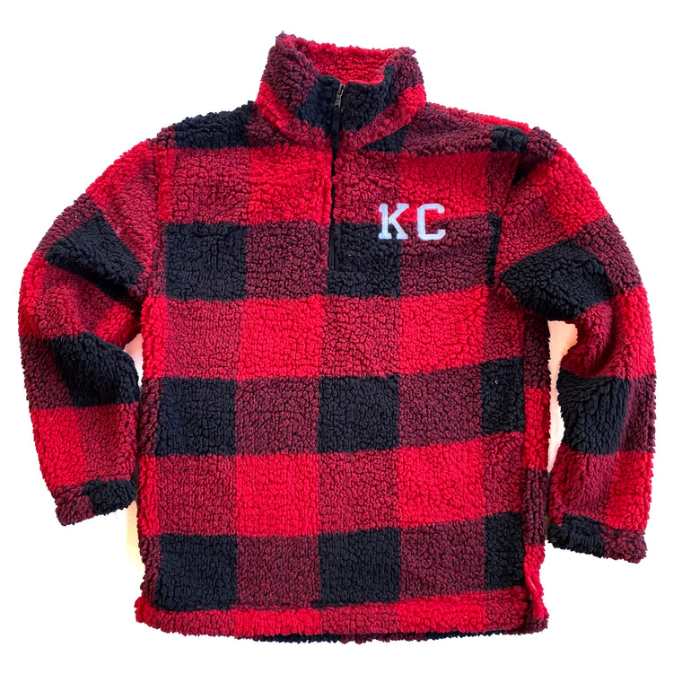1KC | 1/4 ZIP SHERPA - BUFFALO PLAID