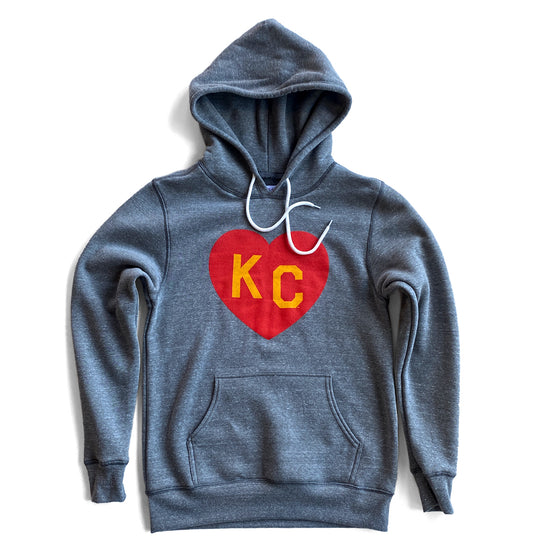 CHARLIE HUSTLE |  KC HEART HOODIE - GREY/RED/YELLOW