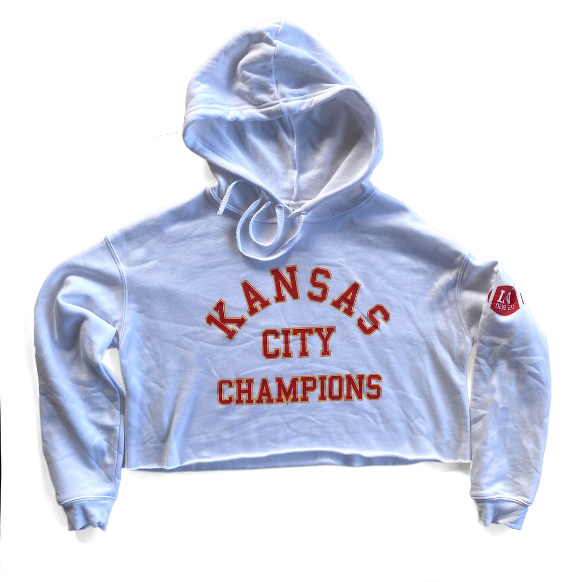 1KC | KANSAS CITY CHAMPIONS CROP HOODIE - WHITE