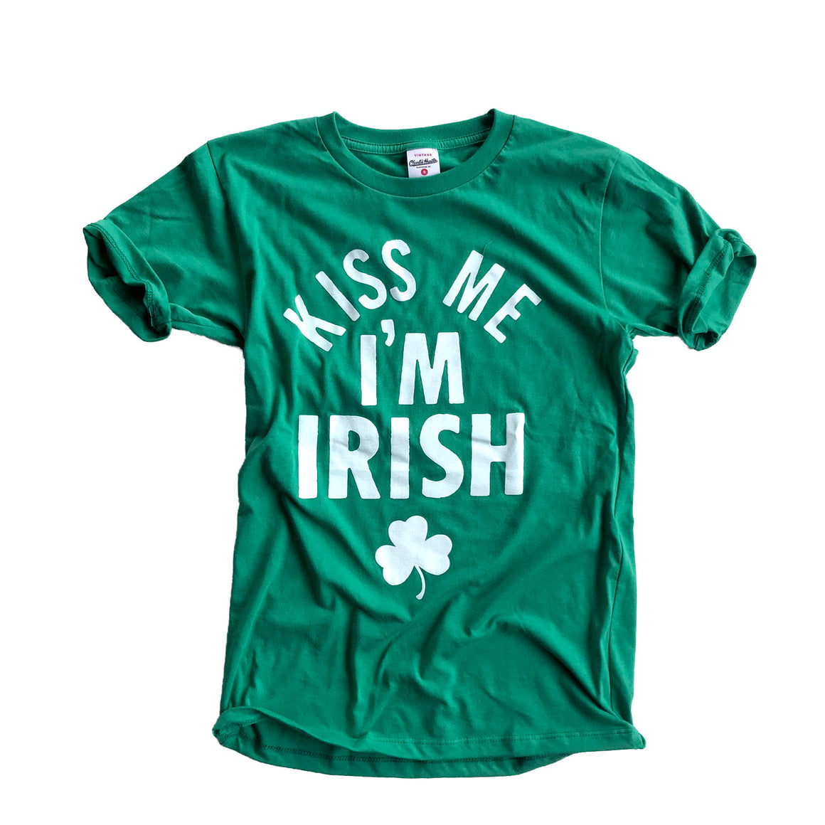 CHARLIE HUSTLE | KISS ME I'M IRISH VINTAGE T-SHIRT - GREEN