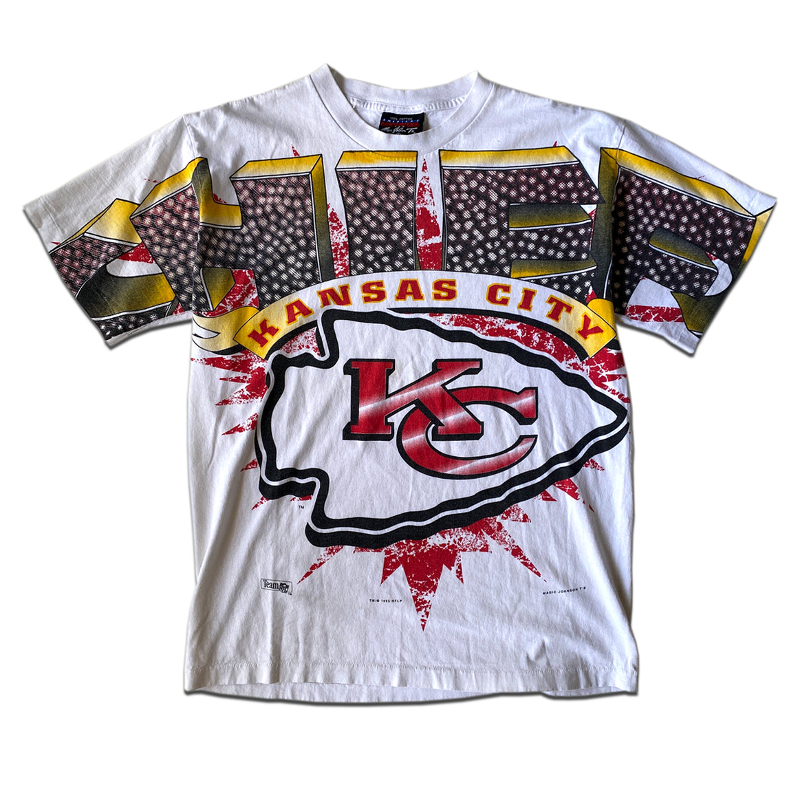 WESTSIDE STOREY VINTAGE | 90'S MAGIC JOHNSON T'S KC CHIEFS SPELL OUT T-SHIRT
