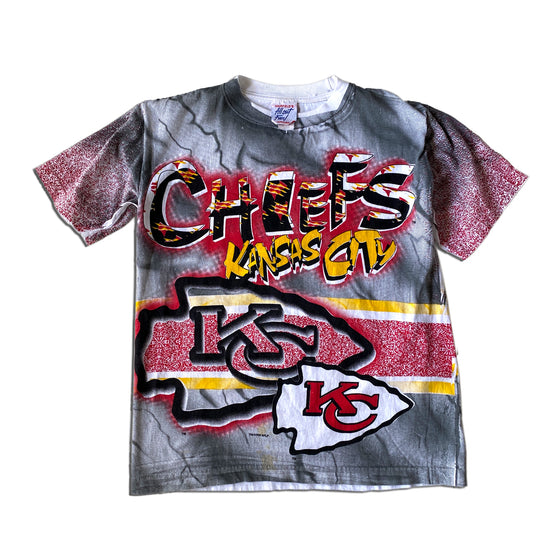 WESTSIDE STOREY VINTAGE | ALL OUT FAN 1995 KC CHIEFS DOUBLE SIDED ALL OVER PRINT TEE