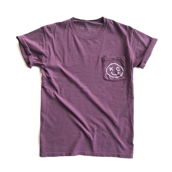 BELLBOY | KC SMILEY POCKET TEE | PURPLE PLUM RAISIN