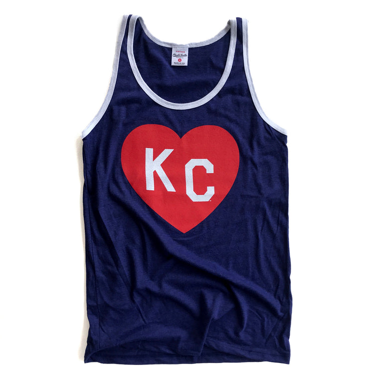 CHARLIE HUSTLE | KC HEART TANK | NAVY/WHITE