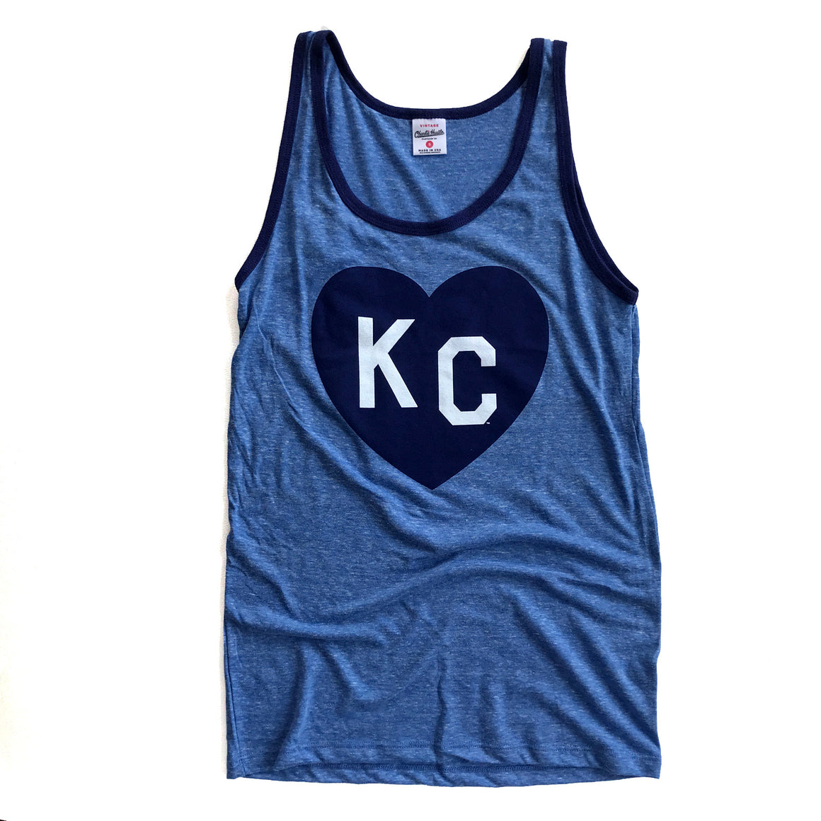 CHARLIE HUSTLE | KC HEART TANK | VINTAGE BLUE/NAVY