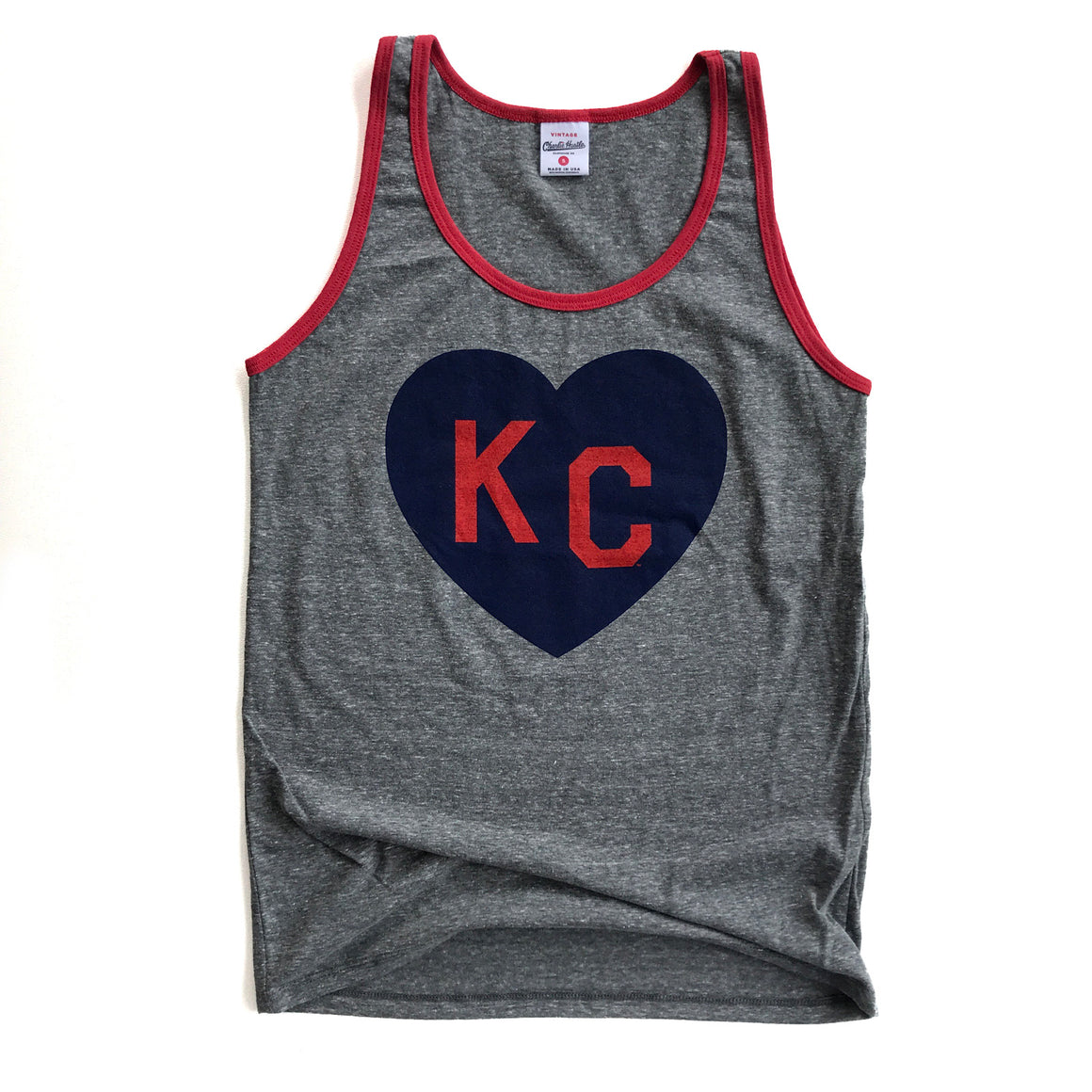 CHARLIE HUSTLE | KC HEART TANK | GREY/RED