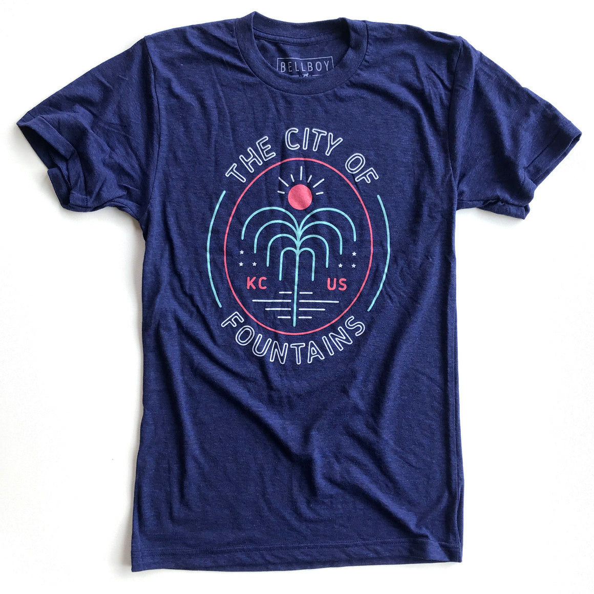 BELLBOY | KC FOUNTAIN T-SHIRT - HEATHER NAVY