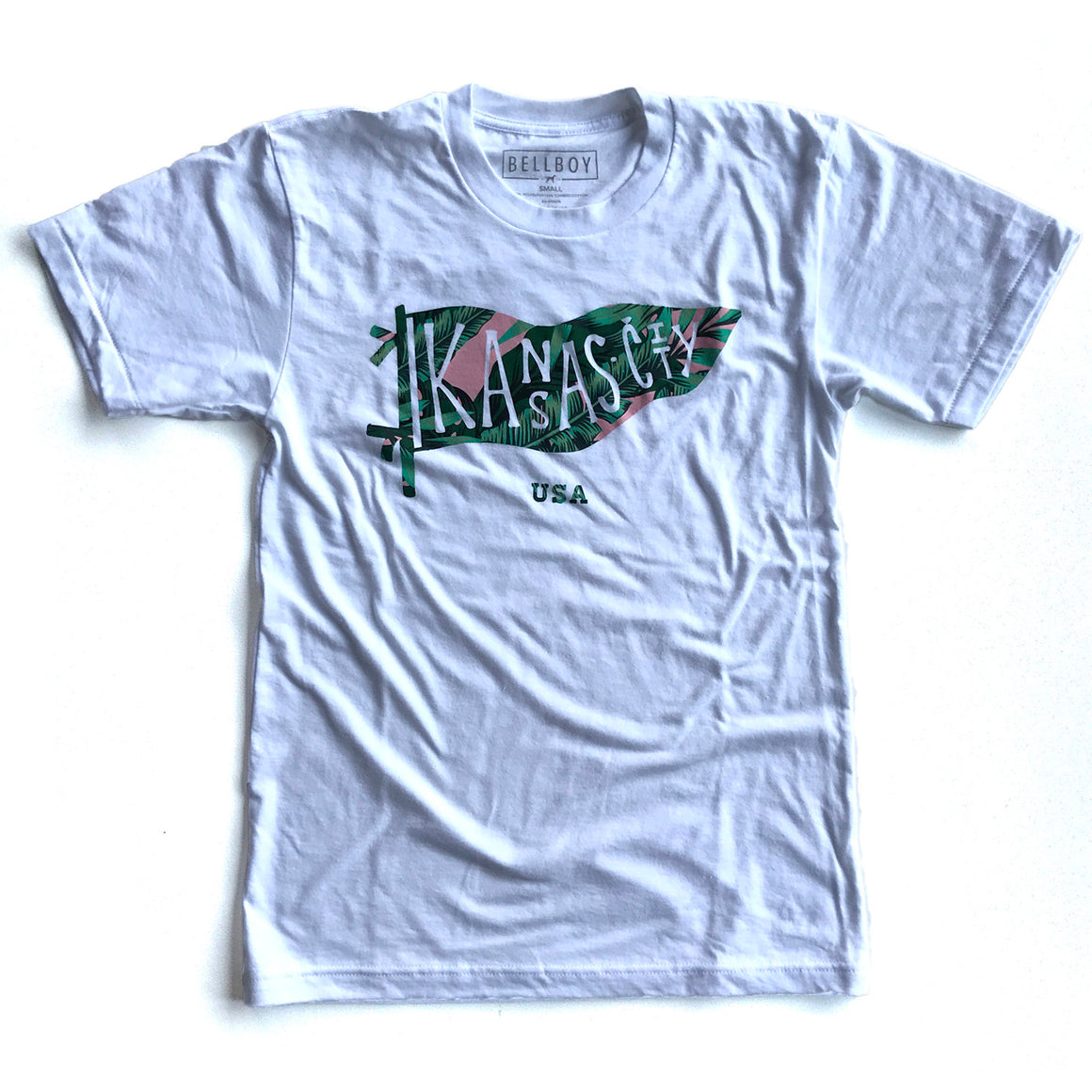 BELLBOY | KC PENNANT T-SHIRT - WHITE/PALM TREE