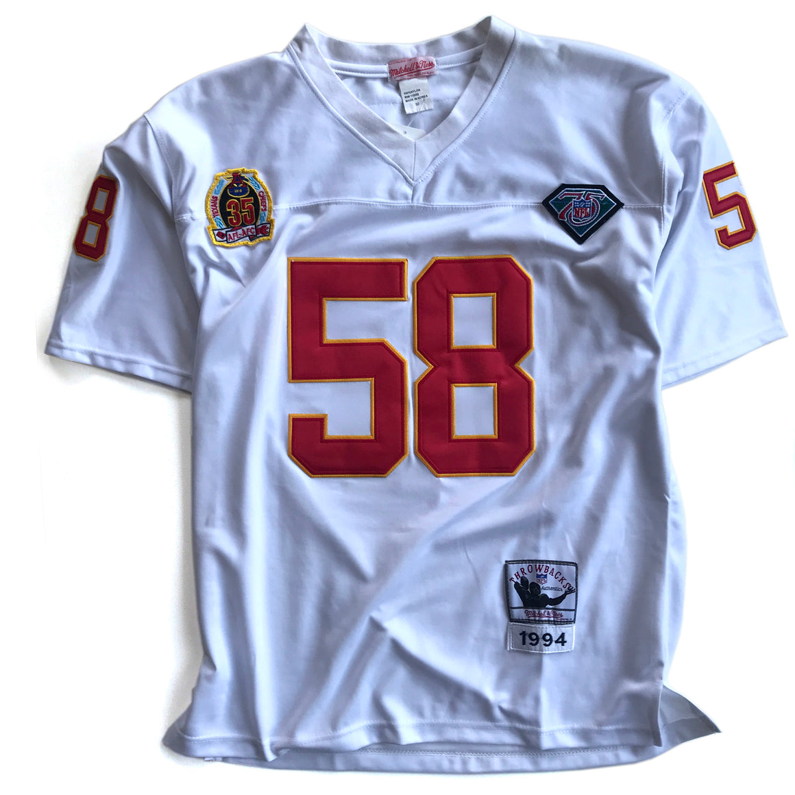 WESTSIDE STOREY VINTAGE | MITCHELL & NESS KC CHIEFS DERRICK THOMAS 75TH ANNIVERSARY WHITE JERSEY