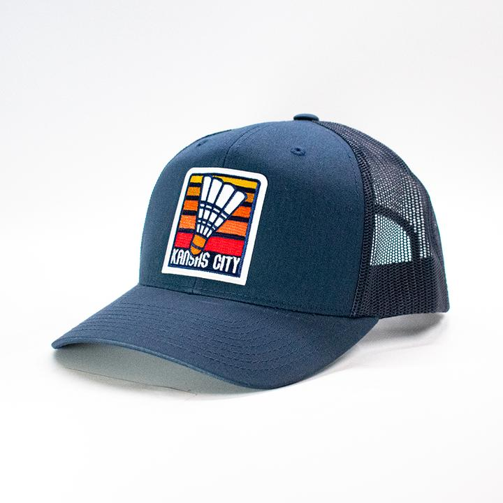 KC CLOTHING | SHUTTLECOCK RETRO TRUCKER HAT - NAVY
