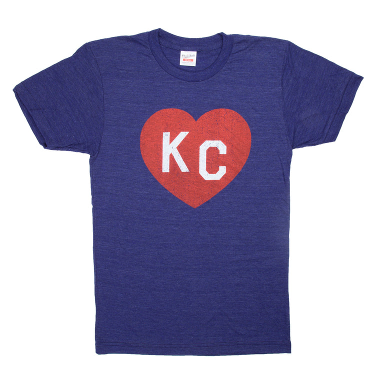 CHARLIE HUSTLE | KC HEART T-SHIRT - NAVY BLUE