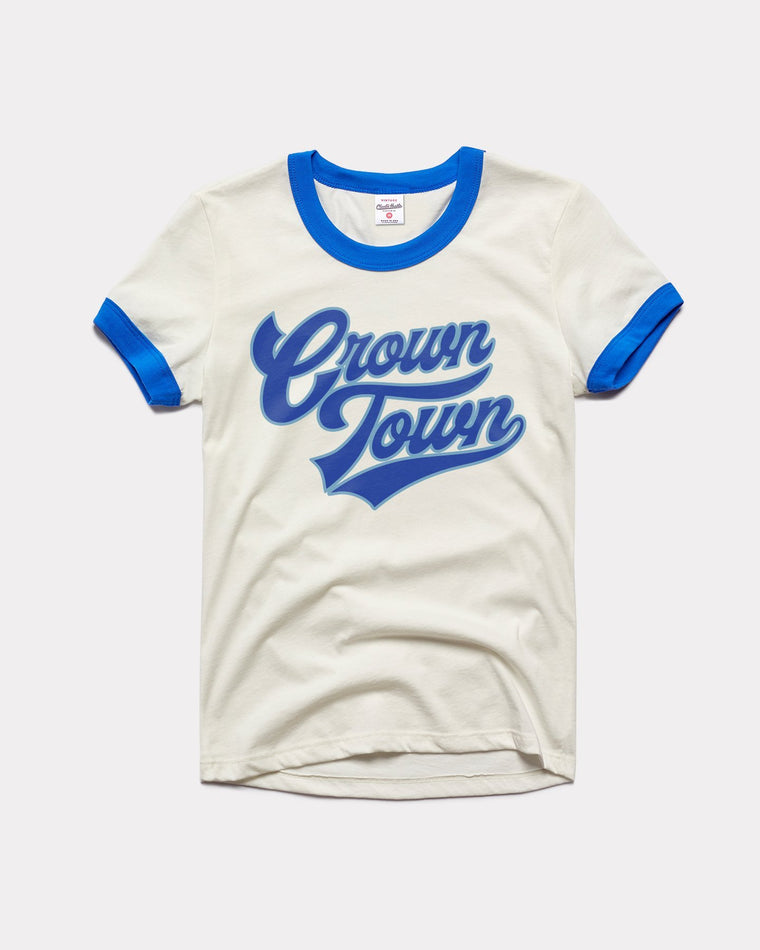 CHARLIE HUSTLE | CROWN TOWN VINTAGE RINGER T-SHIRT - WHITE & BLUE