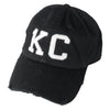 1KC | DISTRESSED BASEBALL HAT - BLACK