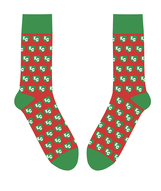 SOCK 101 | CHRISTMAS HEART | RED AND GREEN