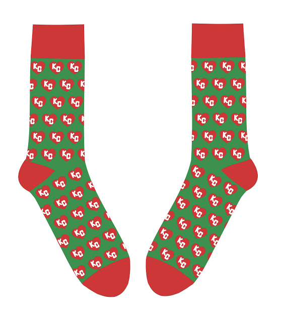 SOCK 101 | CHRISTMAS HEART | GREEN AND RED