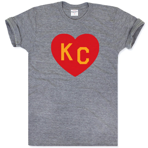 CHARLIE HUSTLE | KC HEART T-SHIRT - GREY/RED/YELLOW
