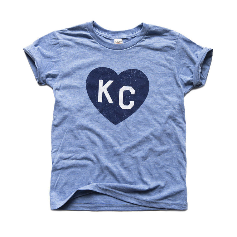 CHARLIE HUSTLE | KIDS KC HEART T-SHIRT - LIGHT BLUE
