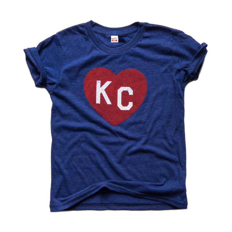 CHARLIE HUSTLE | KIDS KC HEART T-SHIRT - NAVY