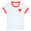 CHARLIE HUSTLE | WOMENS RINGER KC HEART | WHITE/RED