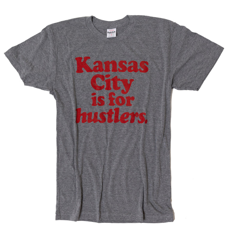 CHARLIE HUSTLE | KANSAS CITY IS FOR HUSTLERS T-SHIRT - GREY/RED