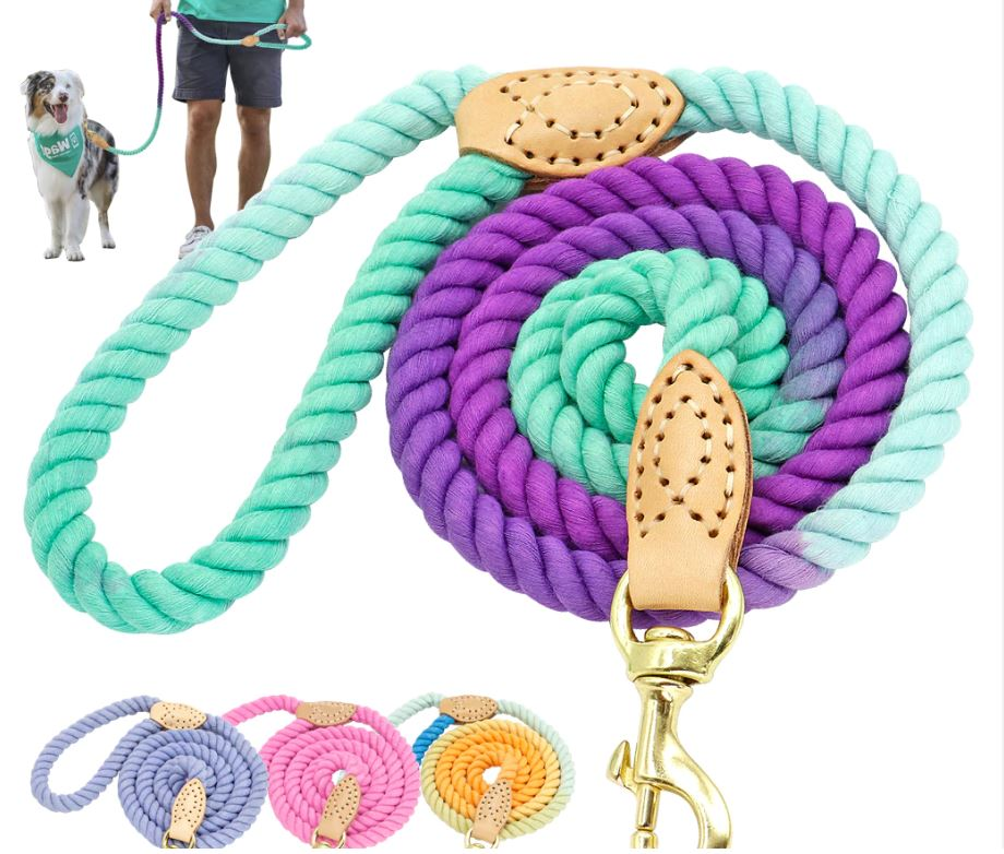 Blurple Tie-Dye Rope Leash
