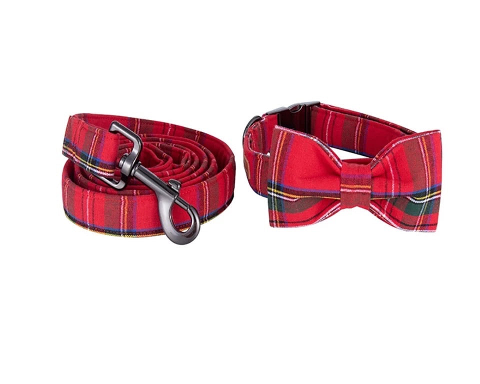 Christmas plaid leash
