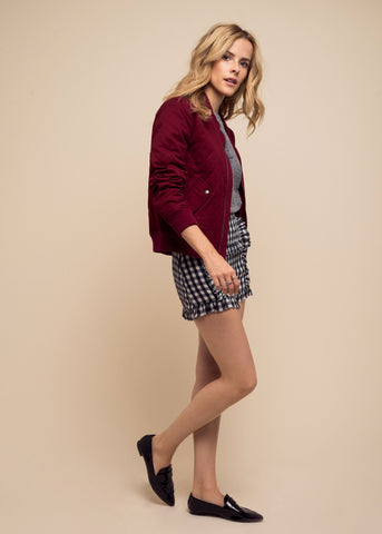 sincerely jules girl bomber jacket wine red