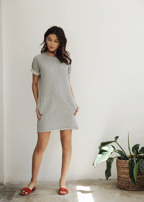 CARA DRESS - HEATHER GREY