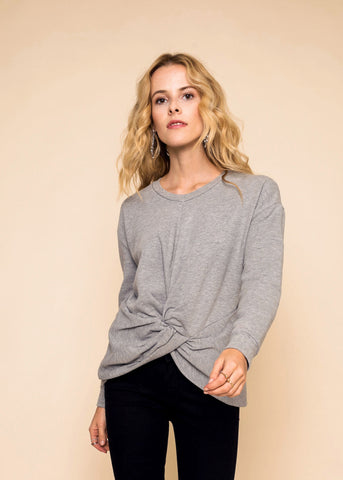 KNOT FRONT SWEATSHIRT - HEATHER