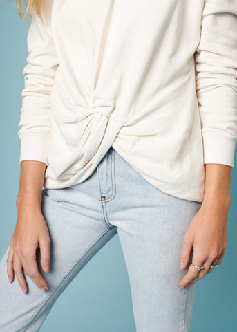 KNOT FRONT SWEATSHIRT - IVORY - Shop Sincerely Jules