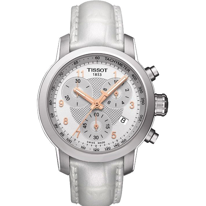 Ladies Designer White PRC Chronograph Tissot Watch T055.217.16.032.01