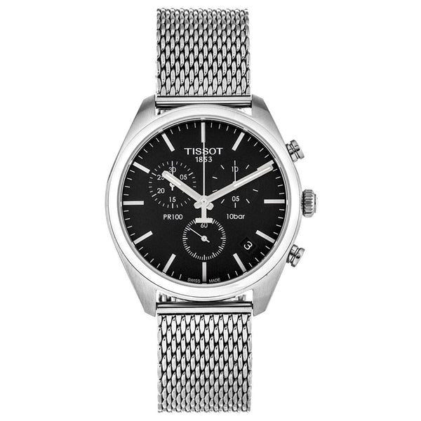 Men's Silver Stainless Steel & Black Mesh PR100 Chronograph Tissot Watch T101.417.11.051.01