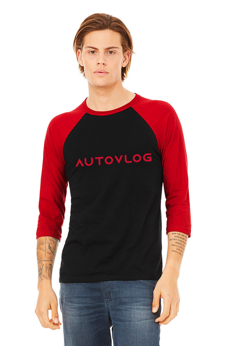 Unisex Red Baseball Tee 3/4 Sleeve