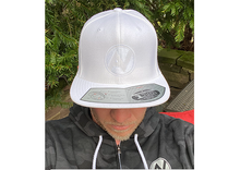 Load image into Gallery viewer, White Flexfit Golf Cap