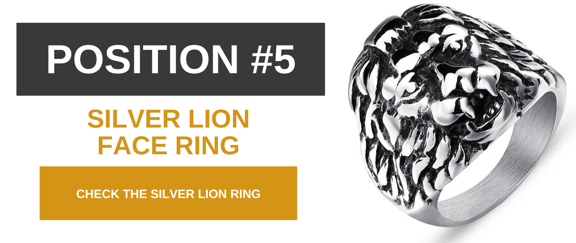 Silver lion face ring.