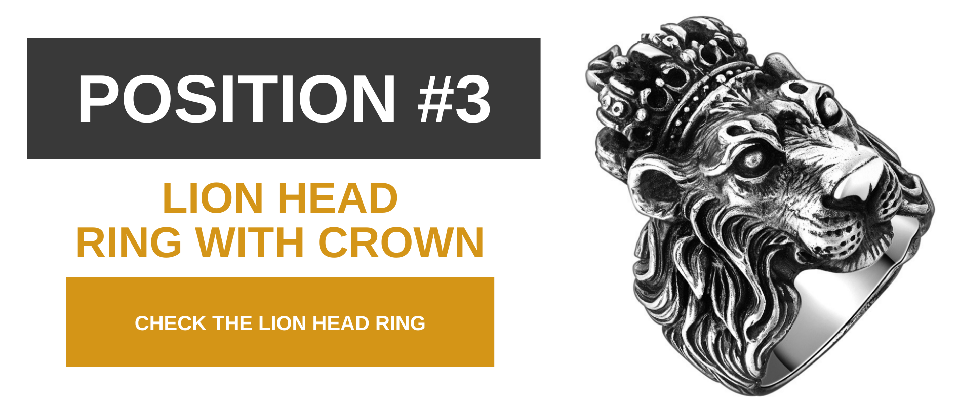 Lion head ring with crown.