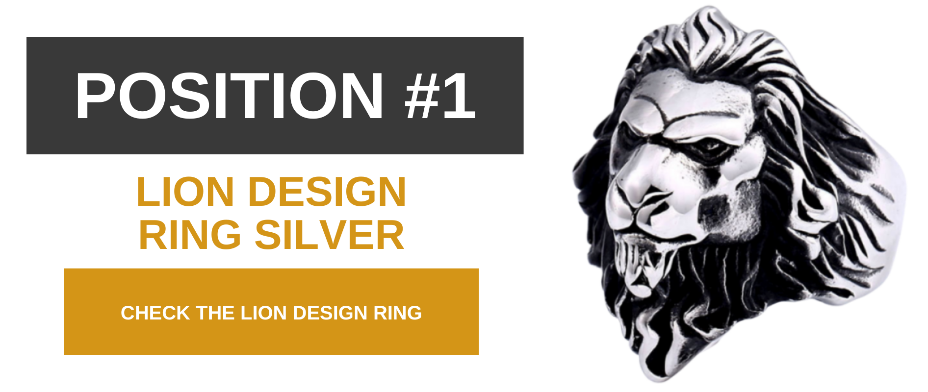 Lion design ring silver.