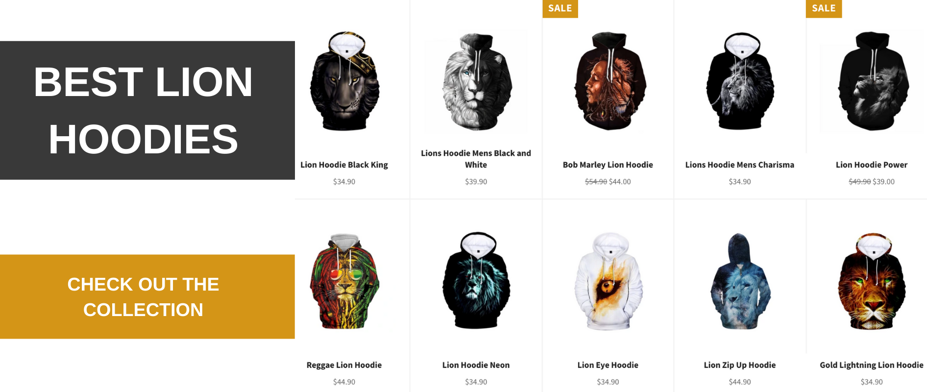 Lion Hoodies collection.